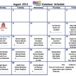 August 2016 Cafeteria Volunteer Schedule