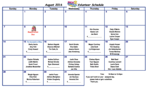 August 2016 Cafeteria Volunteer Schedule